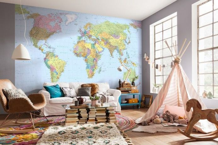Map of The World non woven wallpapers | homewallmurals